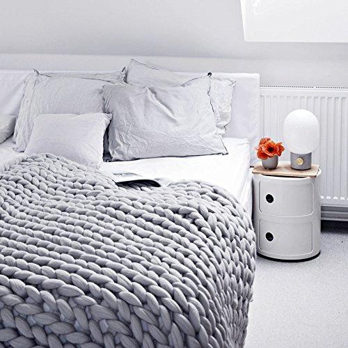 Decke Handgefertigt Riese Klobig Sticken Werfen Sofa Decke Handgewebt Sperrig Decke Zuhause Dekor Geschenk (120 * 150CM, Grau)