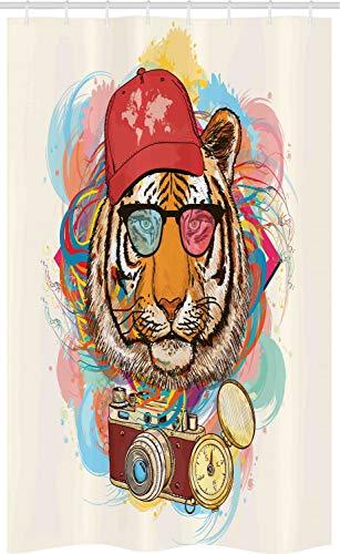 ABAKUHAUS Dier Douchegordijn, Hipster Tiger Sunglasses, voor Douchecabine Stoffen Badkamer Decoratie Set met Ophangringen, 120 x 180 cm, Veelkleurig