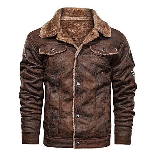 ATHX Mens Vintage Leather Bomber Motorcycle Jacket Warm Coat (Brown, Large)