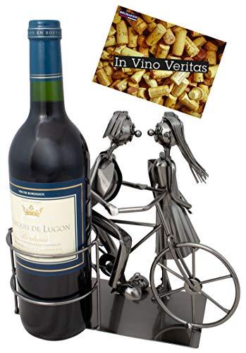 BRUBAKER Porta botella de vino amantes con bicicleta - Decoración soporte de botella de metal - con tarjeta de saludo