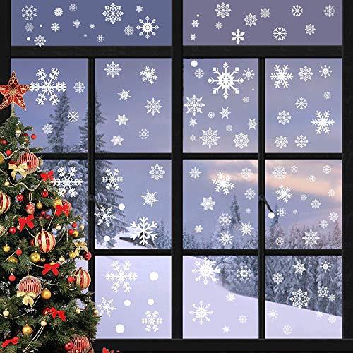 heekpek 492 PCS Schneeflocken Fensterdeko Fensterbilder für Weihnachten Winter Dekoration Türen Schaufenster Vitrinen Glasfronten Schneeflocke Fensteraufkleber Spähen des Weihnachtsmanns