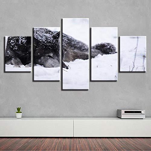 WGBHQ 150x100cm Modulaire muurkunst schilderijen Animal Pet Dog 5 panelen Modern Landschap Kunstwerk Canvas afdrukken Abstracte afbeeldingen Sensatie voor foto´s op canvas muurkunst voor wooncultuur Wandd A9