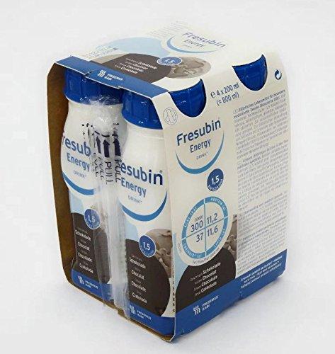 FRESUBIN Energy Drink, 300kcal pro Trinkflasche, 6 x 4 x 200ml (Schokolade) ohne Trinkhalm