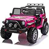 Ride On Car with Remote Control for Kids 12V 7Ah Battery Powered Ride On Truck Car for Boys Girls Electric Ride on Toys with Cool Multi-LED Lights, Spring Suspension, MP3 Music, Bluetooth, Pink