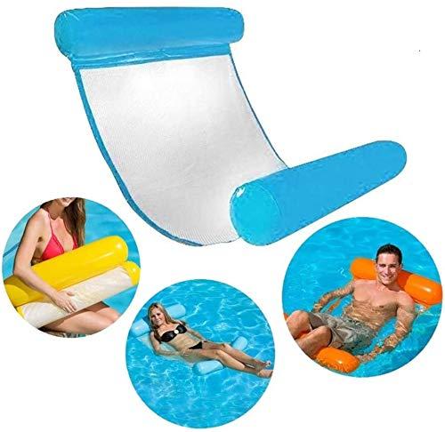 BUCUO Aufblasbares Schwimmbett, Wasserhängematte 4-in-1 Lounge Sessel Pool Lounge Luftmatratze Pool Aufblasbare Hängematte für Erwachsene und Kinder (Blau)