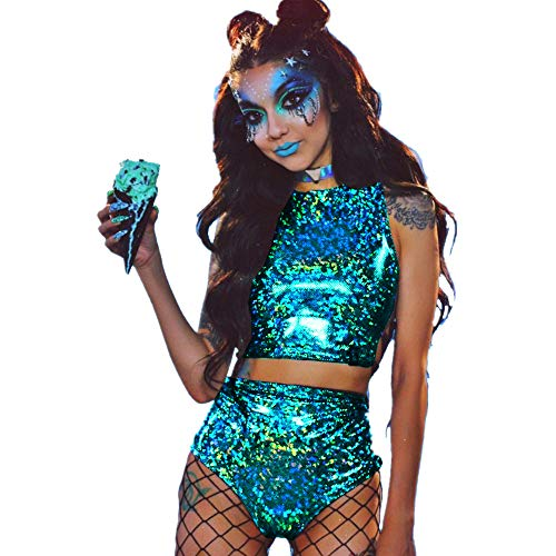 WAMK Holographische Crop top Frauen 2 stück Sets, Festival Rave Kleidung tragen Outfits Hologramm Tank top hohe Taille hot Shorts,6,S
