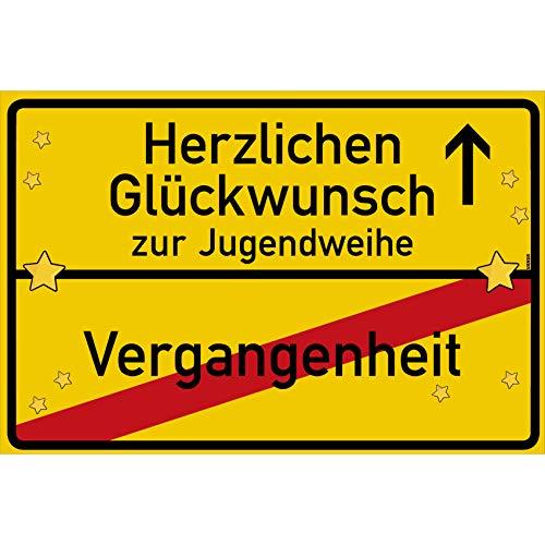 vanva Herzlichen Glückwunsch zur Jugendweihe Ortsschild Jugendweihe Geschenke Schild 30x20 cm Jugendweihe Jugendweihe Karten Gelb