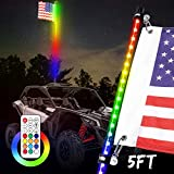 5ft LED Whip Light with Flag, SWATOW INDUSTRIES Lighted Antenna Whip Spiral RGB LED Whip with Remote Control Off Road Chase Light LED Light Whip for UTV ATV RZR Can-Am Truck 4 Wheeler Dune Buggy