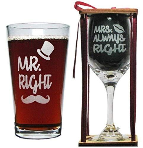 Mr. まさにその通りです。 Always Right 彫刻グラス - Mr. ピントとミセス。 Always Right ステムワイングラス チャーム付き