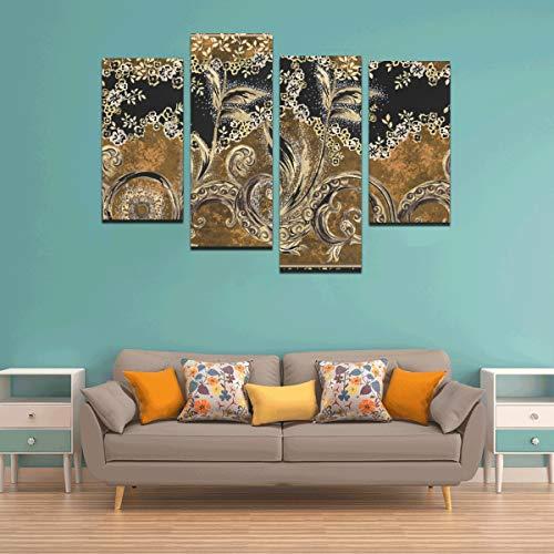 Zemivs 4 Stück Schlafzimmer Wandfarbe Metallic Goldbraun Kunst gedruckt Leinwand Paneele Kein Rahmen Wohnzimmer Büro Hotel Home Decor Geschenk