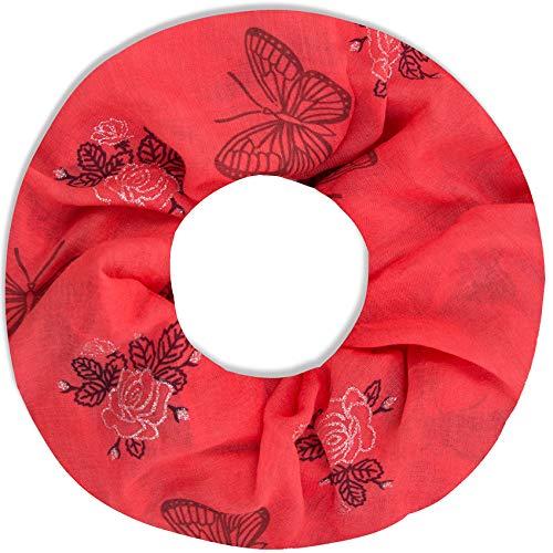 Faera Damen Schal Schmetterling und Rosen weich und leicht Loopschal Rundschal in verschiedenen Farben, SCHAL Farbe:Rot