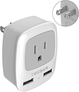 Japan Philippines Power Adapter Plug, TESSAN Japanese Travel Outlet Adaptor with USB, Type A 3 to 2 Prong Adapter for USA China Canada Mexico