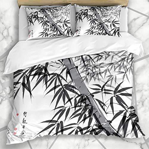 ZOANEN Ropa de cama funda nórdica Asiático Bambú Tinta Pintura Traducción Bienestar Naturaleza Sello Parques Pincel Oriental Trazo Antiguo Microfibra nuevo set de tres piezas Funda de edredón 200*200