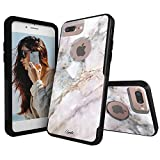 Unnito iPhone 7 Plus Case – Hybrid Commuter Case | Slim Cover with Hard Shell Design and Soft Inner Layer Compatible with iPhone 8 Plus Black Case - Sienna Marble