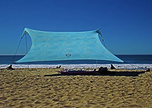 Neso Tents Gigante Beach Tent, 8ft Tall, 11 x 11ft, Biggest Portable Beach Shade, UPF 50+ Sun Protection, Reinforced Corners and Cooler Pocket(Aqua Fronds)