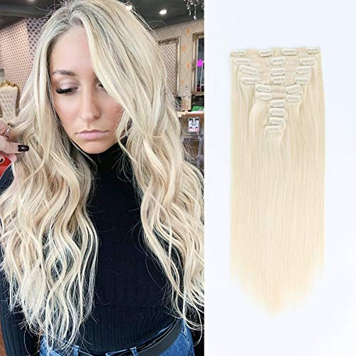 SixStarHair 22inch Ash Blonde Clip In Hair Extensions Color 60 Human Hair Extensions 240g Light Blonde Thick Hair Extensions 10 Pieces Remy Human Hair Wefts With 20 Clips and Adorable Gifts