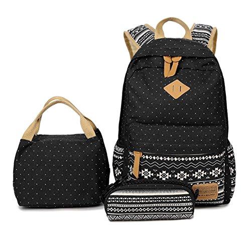 Canvas Daypacks Backpack 3 Teiliges Schultaschen-Set Schulrucksack + Umhängetasche + Mäppchen für Mädchen Damen Jugendliche Schwarz