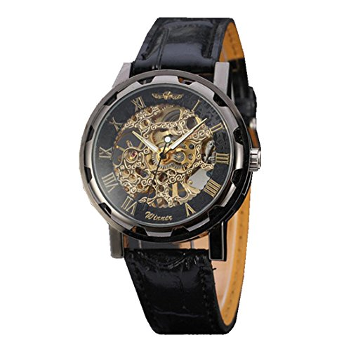Men\'s Watches, Xjp Automatic Mechanical Skeleton Wristwatches Leather Watch Band Black