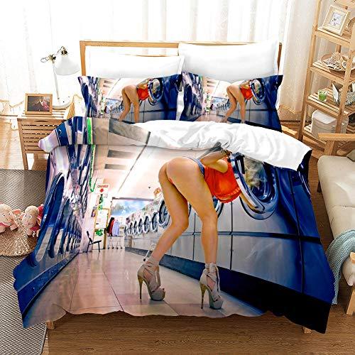 GVJKCZ Fundas nordicas 3D Azul Blanco Lavadero Chica Sexy Juego de Cama 140x200cm Bedding Juego de Ropa de Cama para Niños - 100% Microfibra (1 Funda Nórdica + 2 Funda de Almohada)