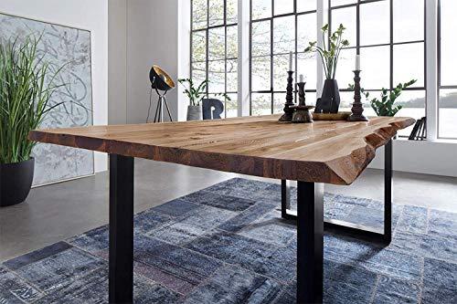 SAM Möbel Outlet Esstisch Baumkante, 220x100 cm, NOAH, Akazie, Natur, U-Gestell schwarz