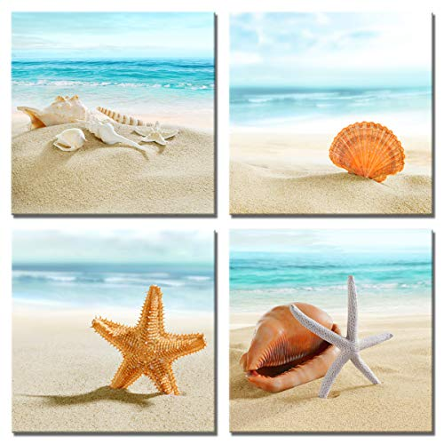 Beach Canvas Wall Art Ocean Decor Seashell Starfish Nature Picture Blue Seascape Artwork Turquoise Sea Painting Framed for Bedroom Bathroom 12x12in x4pcs