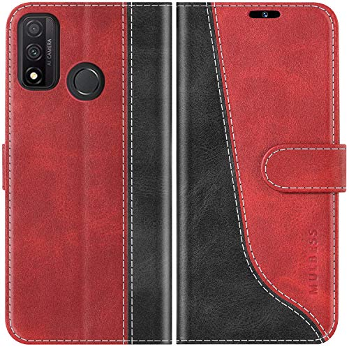 Mulbess Coque pour Huawei P Smart 2020, Coque Cuir Huawei P Smart 2020, Etui Huawei P Smart 2020 Portefeuille, Pochette Housse pour Huawei P Smart 2020 Protection, Vin Rouge