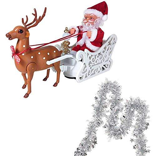 qiaohuan shop Santa Claus con tira de color Elk tirando coche Santa Claus Navidad estatuilla ornamento Familia fiesta regalos