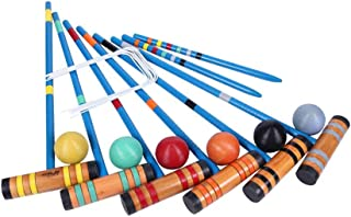 Bloodyrippa 6 Player Croquet Set with Carrying Bag, 6 Hard Wood Mallets, 6 Colored Ball, 2 Wooden Stakes, 10 Wickets
