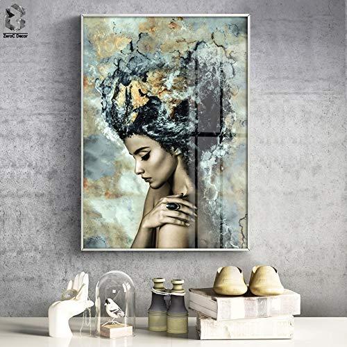 tzxdbh Modern meisje van marmer, affiche en prints op canvas, canvas, Scandinavisch schilderij, decoratie voor de woonkamer 50x70cm No frame Een