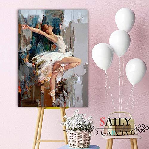 mmzki Original Tanzen Ballerina Ölgemälde Berühmte Mahnoor Künstler Gemalt Abstrakte Ballett Mädchen Wandmalerei K 60X100 cm