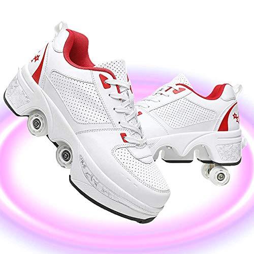 HealHeatersⓇ Rollschuh Roller Skates Lauflernschuhe, 2 in 1 Mehrzweckschuhe Schuhe Mit Rollen Skateboardschuhe Für Damen, Mädchen (Weiß Rot, 40)