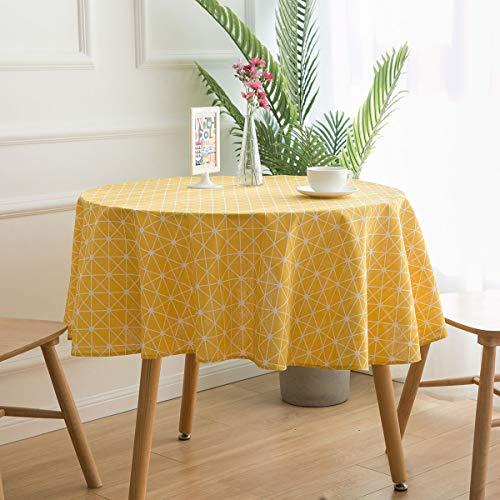 YCZZ Rond tafelkleed in landelijke stijl, geometrisch design, klein tafelkleed van katoen en linnen