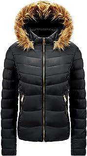 Gutsbox Damski płaszcz puchowy, kurtka zimowa z ciepłą podszewką, kurtka puchowa ze sztucznego futra, gruba pikowana kurtk...