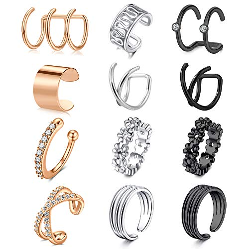 LAURITAMI Fake Earrings Cuffs CZ Cubic Zirconia Cartilage Earring Stainless Steel Ear Cuff Huggie Piercing Non Pierced Ear Clip for Women