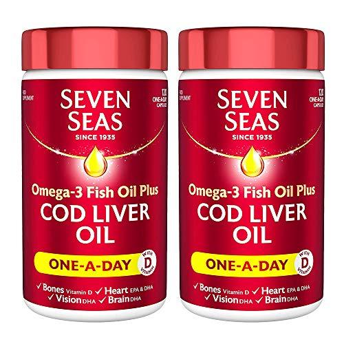 2 x 120 Tablets Omega 3 Fish Cod Liver Oil Plus Vitamin D Bones Heart Vision Brain