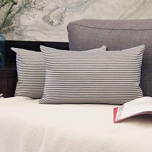 JOJUSIS Cotton Woven Striped Lumbar Throw Pillow Covers Soft Solid Farmhouse Classic Decorative Cushion Pillowcases for Sofa Bedroom Car 12 x 20 Inch Black Pack of 2