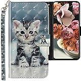 CLM-Tech Hülle kompatibel mit Oppo Reno 2 - Tasche aus Kunstleder - Klapphülle mit Ständer & Kartenfächern, kleine Katze