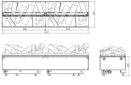 3d Chimenea al vapor de agua Cassette Opti Myst–100cm de ancho