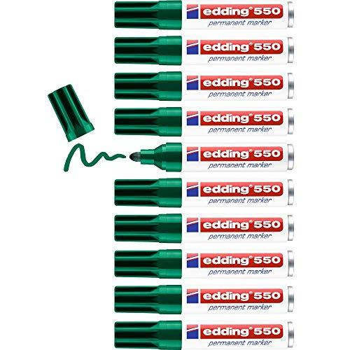 Edding 550 marcador permanente - verde - 10 rotuladores - punta redonda 3-4mm - resistente al agua, de secado rápido, rotuladores indelebles - para cartón, plástico, madera, metal, vidrio