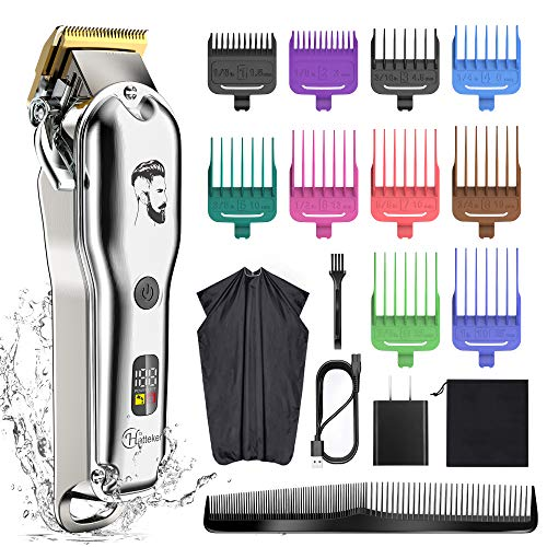 Hatteker Mens Hair Clipper Beard Trimmer Hair Trimmer for Men Cordless Clippers Professional Barbers Grooming Kit IPX7 Waterproof, Rechargeable, Colorful Combs, Silver