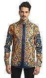 Pizoff, camicia da uomo a maniche lunghe con motivo barocco dorato Y1706-27. S