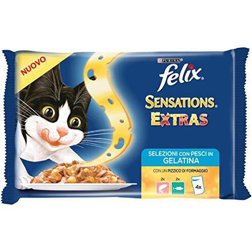 Felix Sensations Extras - Gato con salmón y un Pizca de Queso y atún y un Toque de Queso, 4 x 100 g – Paquete de 10 Unidades