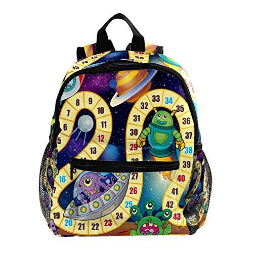 School Backpack Kids Schoolbag Student Bookbag,Funny Game Board Monster Rocket Alien Planet