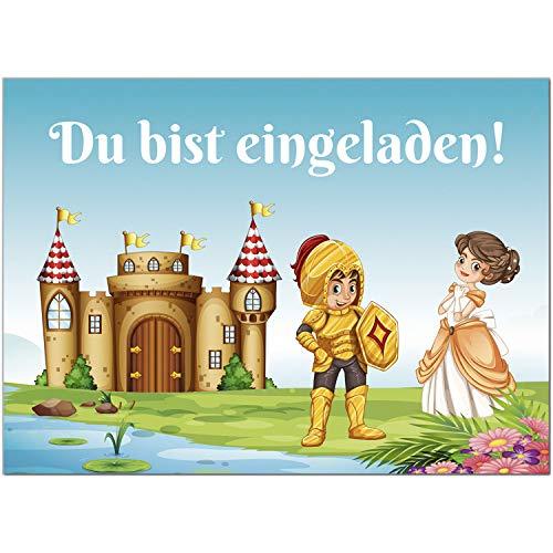 16 Einladungskarten zum Kindergeburtstag Ritter Burg Prinzessin - Einladungen für Kinder zum Geburtstag im Set