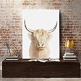 Quadros Wall Art Highland Cow Póster de vaca abstracta Pintura de lienzo nórdica Carteles e impresio...