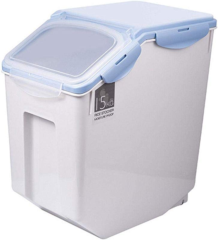 Womdee Rice Container Storage 15 KG 33 LBS Cereal Containers With Double Seal Design And BPA Free Plastic Suitable For Storing Rice Flour Dry Food Pet Food And More Include Measuring Cup Blue