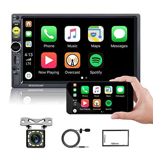 """Estéreo Carro 2 DIN Pantalla táctil D-Play CAMECHO 7"""" Reproductor Multimedia para Coche 1080P con Mirror Link Bluetooth FM TF/USB Radio de Coche+micrófono Externo+Marco+cámara de visión Trasera"""