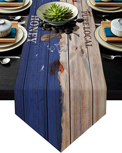 Camino de mesa de arpillera para fiesta/cena, miel local pura y abeja, en madera azul, mantel de vetas de 33 x 177 cm