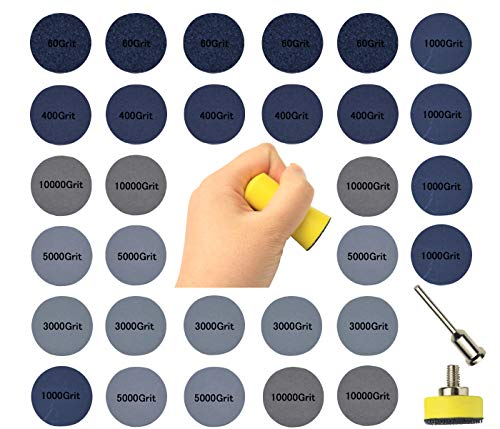 1 inch Sanding Disc Backing Pads, 30 Sheets 60-10000 Grit, Sandpaper Abrasive Tool with 1/8