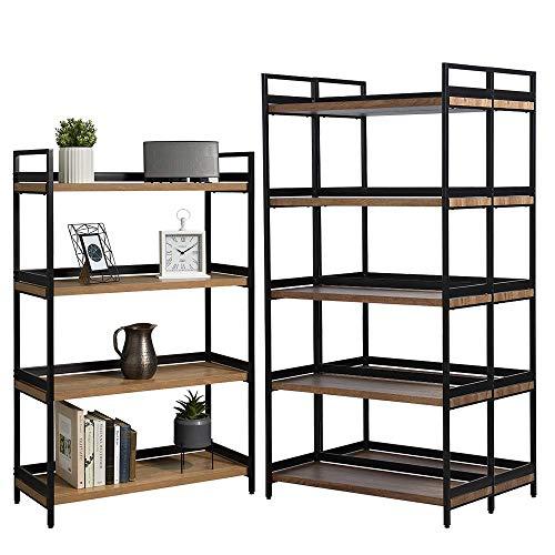 Racking Solutions Estantería industrial contemporánea de 1 x 4 niveles y 2 x 5 estantes, acabado de roble y metal negro mate